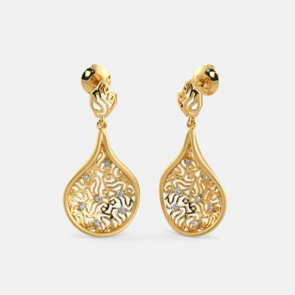 The Golden Tweed Drop Earrings