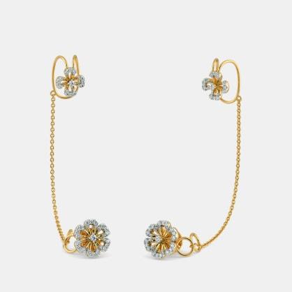 The Abila Stud Chain Clips Earrings