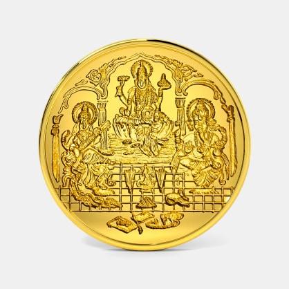 20 gram 24 KT Lakshmi Ganesh Saraswati Gold Coin